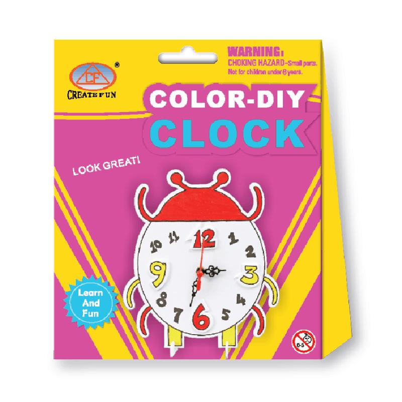兒童益智玩具DIY鬧鐘制作創意畫&瓢蟲款